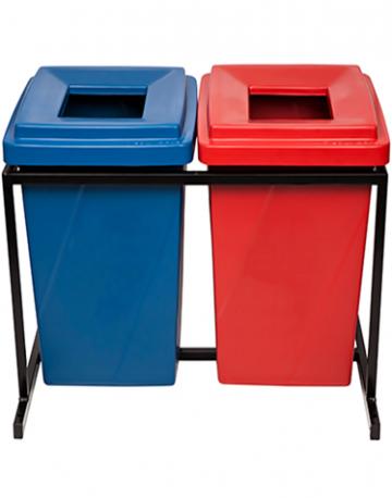 Lixeiras para Reciclagem Tampa Vazada com Suporte para 2 Lixeiras