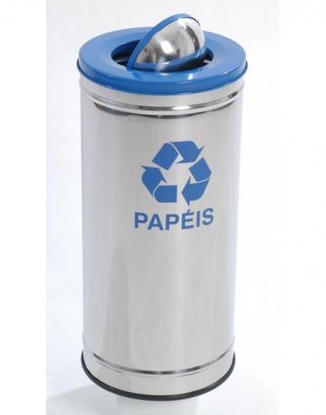 Lixeira em Aço Inox com Tampa Meia Esfera Pintada e Fundo em Plástico ABS Colorido.