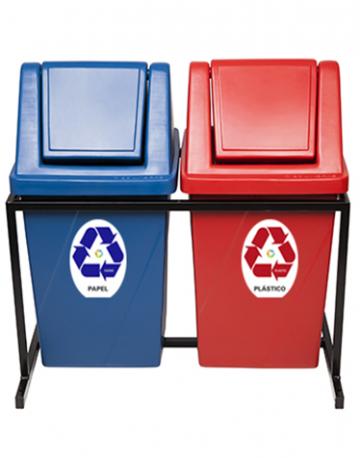 Lixeiras para Reciclagem Tampa Vai Vem com Suporte