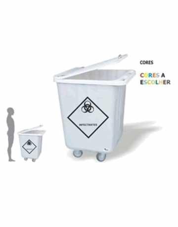 Lixeira Carrinho Container 200 litros em fiberglass com tampa