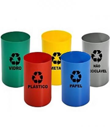 Lixeiras plásticas sem tampas para reciclagem 13 litros