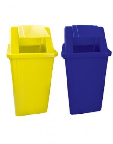 Lixeira Plástica Quadrada com Tampa Vai Vem