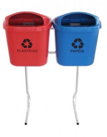 Lixeiras para reciclagem modelo papeleira com Suporte 40 litros