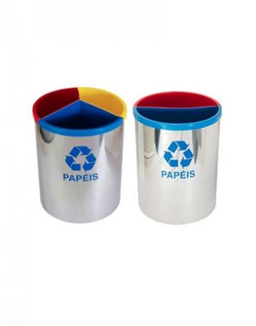 Lixeira em Inox 430 com divisão plástica de 3 ou 2 divisões capacidade total 30 litros