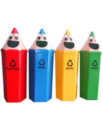 Lixeira Infantil Formato Lápis Sextavado 55 litros
