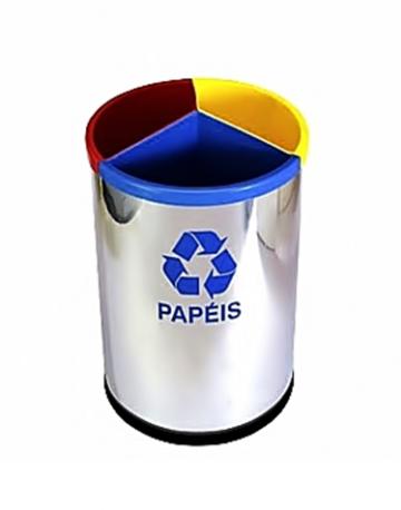 Lixeira em Inox 430 c/ Divisão Plástica de 3 ou 2 Divisões 30 litros