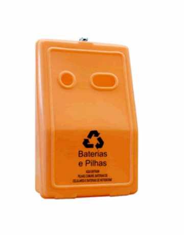 Coletor para pilhas e baterias em plástico com divisor interno