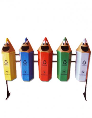 Conjunto coleta seletiva Lixeira Infantil em forma de Lápis 5 lixeiras