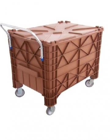 Caixa container 370 litros reforçada com rodas, alça e tampa