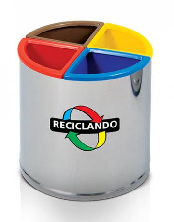 Lixeira para Reciclagem em Aço Inox 60 litros com divisórias