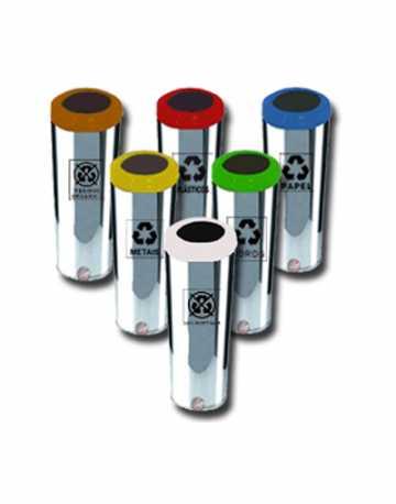 Lixeiras Aço Inox com Aro Pintado 32 litros