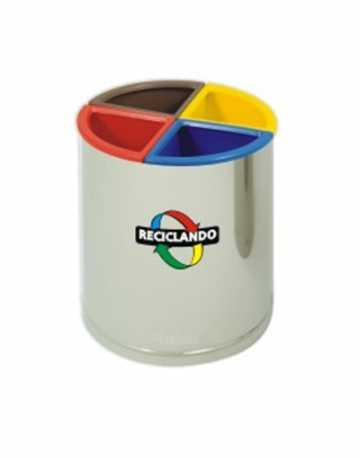 Lixeira para Reciclagem em Inox com divisórias individuais 60 litros