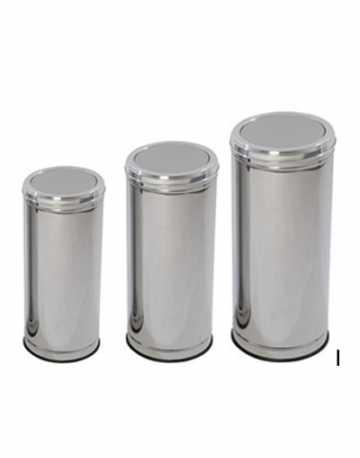 Lixeira Tampa Meia Esfera Aço Inox 50 litros