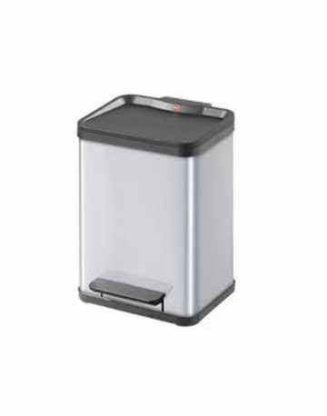 Lixeira em aço inox retangular com recipiente removível 22 litros