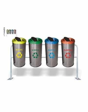 Conjunto de Lixeiras em Aço Inox com Suporte 50 litros