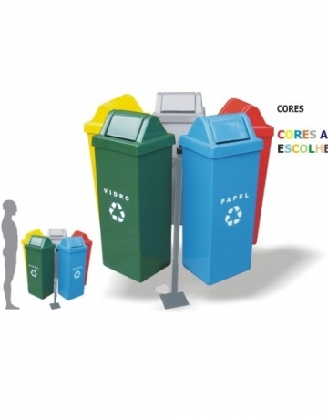 Conjunto de lixeiras com suporte em fiberglass com 5 cestos de 50 litros cada