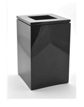 Lixeira em inox com aro com pintura eletrostática preta