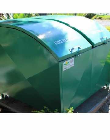 Container Bau em Aço com Pintura Galvanizada C/ 2 Tampas Abaulada 880 Litros