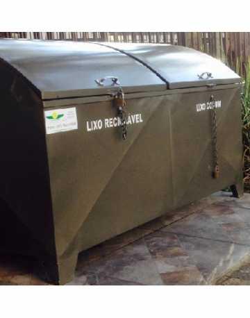Container Bau em Aço com Pintura Galvaniza C/2 Tampas  1.240 Litros  Abaulado