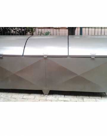 Container Bau em Aço com Pintura Galvanizada c/3 Tampas Abaulada 2.230 litros