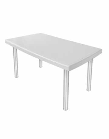 Mesa retangular 6 lugares com pés em aluminio