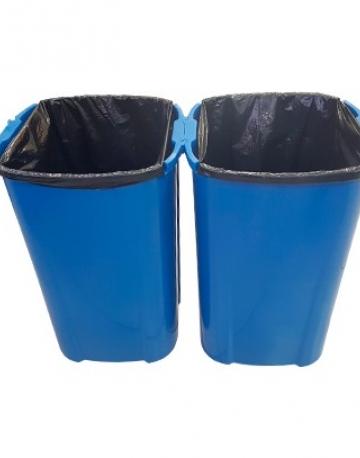 Lixeira plástica de encaixe com tampa vai vem