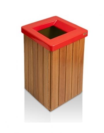 Coletor de Lixo em Madeira Cumaru com Aro Vazado