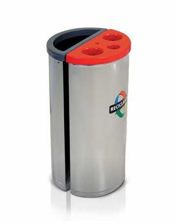 Coletor Seletivo em aço inox com divisória de Lixo/Copo