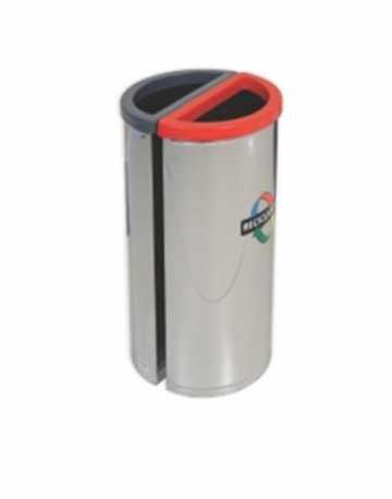 Lixeira em Inox com tampa Vazada 90 litros