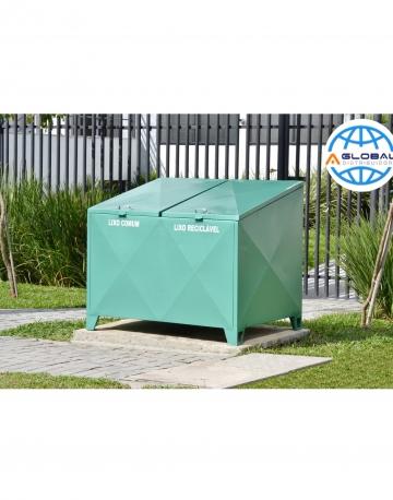 Container Bau em Aço com Pintura Galvanizada C/ 2 Tampas retas 1.020 Litros