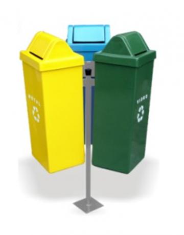 Conjunto de Lixeiras para Reciclagem 50 litros com Suporte Triangular