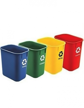 Cesto de lixo retangular sem tampa 15 litros